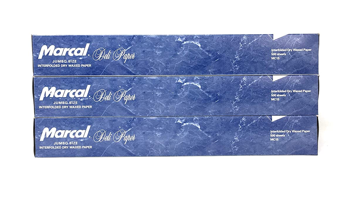 Marcal Deli Wrap Interfolded Wax Paper. Dry Waxed Food Liner Jumbo Size 15 Inch by 10.75 Inch. Total of 1500 Sheets (3 x 500 Packs)