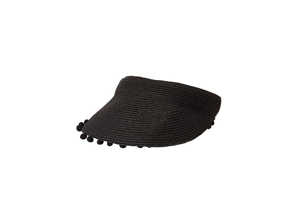 San Diego Hat Company UBV045 Visor with Matching Color Pom and Adjustable Back (Black) Casual Visor