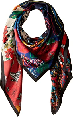 Holiday Patchwork Silk Square Scarf