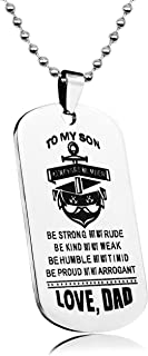LITTONE Love Gift to My Son Dog Tags from Dad Boy Always Remember Be Strong Necklaces Military Chains Pendants LNH9701#