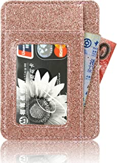 Front Pocket Wallet Minimalist Wallets Leather Slim Wallet Money Clip RFID Blocking, (Star of Paris, Rose Gold)
