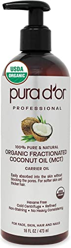 PURA D'OR Organic Fractionated Coconut Oil (473ml) Ecocert & USDA Certified Organic, 100% Pure & Natural Hexane Free ...