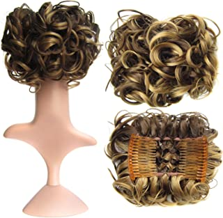 SWACC Short Messy Curly Dish Hair Bun Extension Easy Stretch hair Combs Clip in Ponytail..
