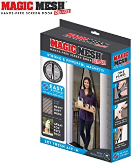 """Magic Mesh New and Improved Hands Free Magnetic Screen Fits Doors Up to Up to, 83"""" x 39"""", Black"""