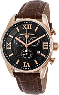 Swiss Legend Men's Bellezza Stainless Steel Swiss-Quartz Watch with Leather Calfskin Strap, Brown, 21 (Model: 22011-RG-01-BRN)
