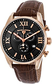 Men's Bellezza Stainless Steel Swiss-Quartz Watch with Leather Calfskin Strap, Brown, 21 (Model: 22011-RG-01-BRN)