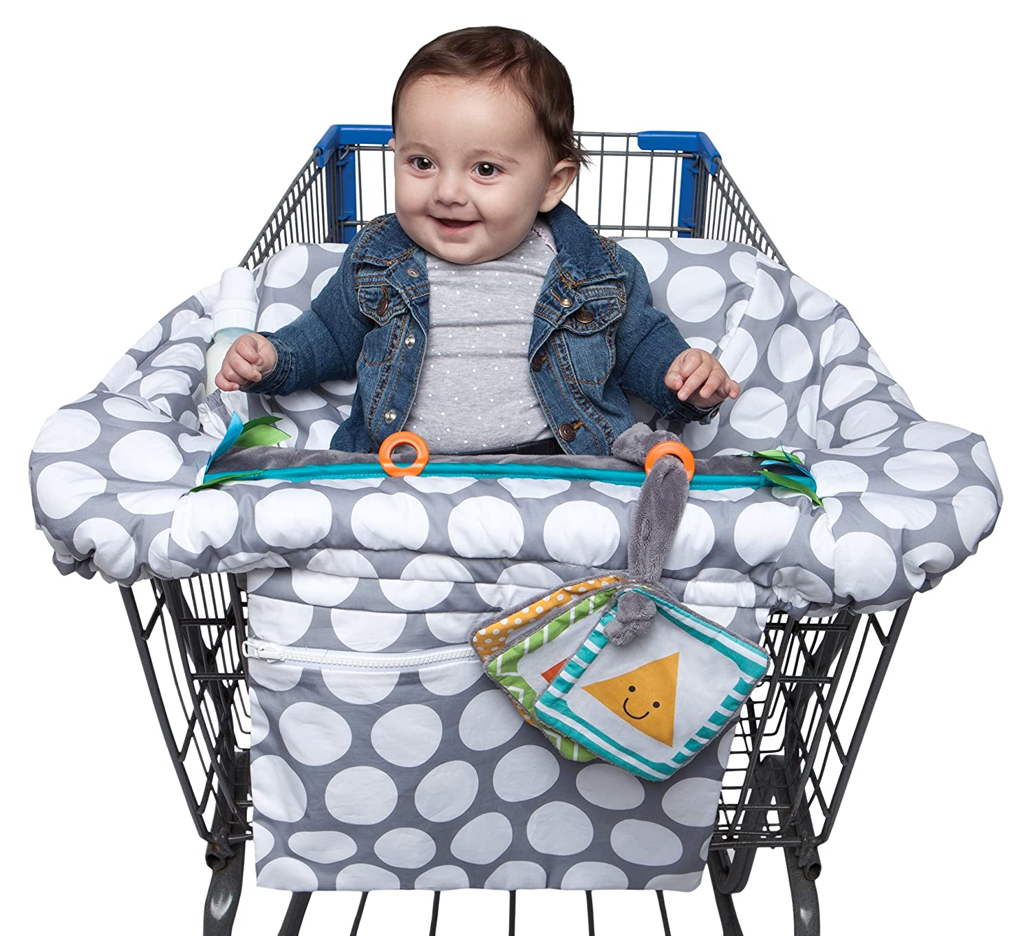 Boppy Shopping Cart and High Chair Cover—Preferred | Gray Jumbo Dots with Attached Crinkle Book Toy| With Integrated Storage Pouch | 2-Point Safety Belt | Wipeable, Machine Washable | 6-48 months