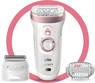 Braun Epilator Silk-épil 9 9-720, Facial Hair Removal for Women, Wet & Dry, Womens Shaver & Trimmer, Cordless, Rechargeable