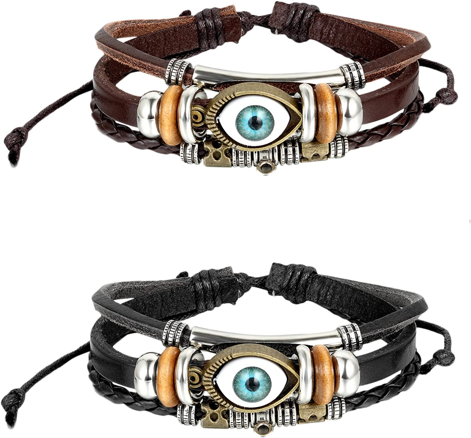 OIDEA 2pcs Mes Womens Good Luck Blue Evil Eye Cuff Bangle Bracelet,Black,Brown,Size Adjustable 8.1 to 9Inch