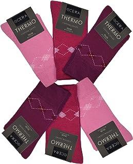 OCERA, 6 pares de calcetines térmicos para mujer con logotipo de estrellas, cristales de invierno o patrón de rombos en la caña 6 x Berry. 39-42