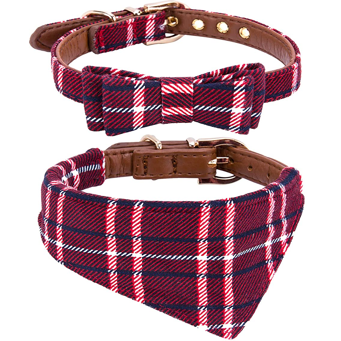 Adjustable Collar for Small & Medium Dogs. Cute Unique Plaid of Durable Polyester Fabric Blend. for Male and Female from StawberryEC