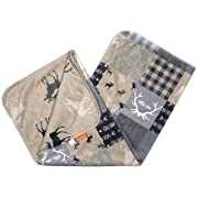 Dear Baby Gear Deluxe Baby Blankets, Custom Minky Print Double Layer, Faux Quilt Grey Tan Adventure and Grey Moose on Tan, 38 inches by 29 inches