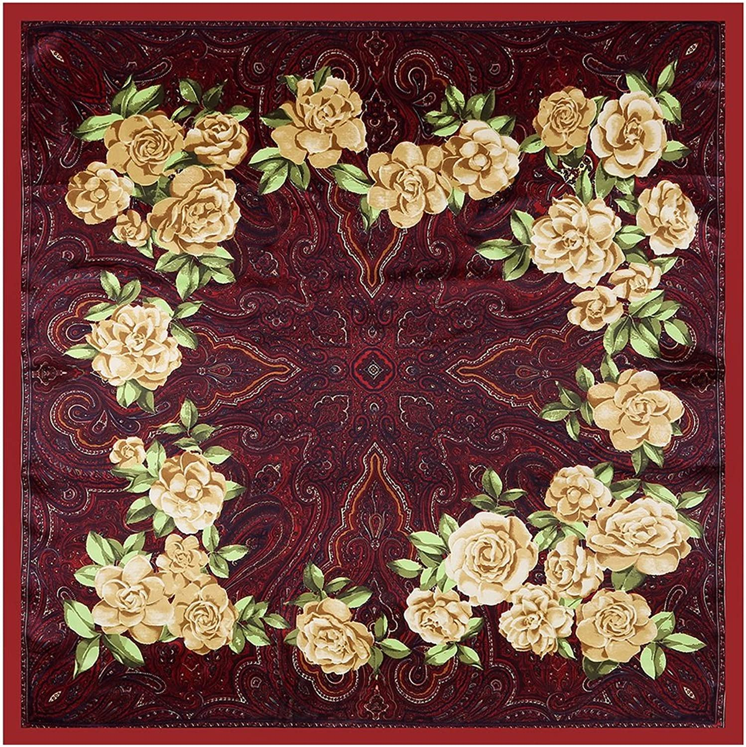 KTYX Printed Silk Scarf National Wind Shawl Large Square Scarf 90  90cm Scarf (color   Wine Red, Size   90  90CM)