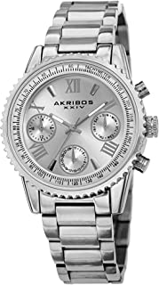 Akribos XXIV Multifunction Everyday Women's Watch - 3 Subdials, Month Date, Week Date and 24 Hr Functions Complication On Stainless Steel Bracelet - AK1100