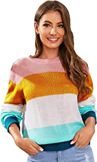 SweatyRocks Women's Color Block Long Sleeve Round Neck Knits Pullover Sweater