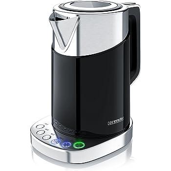 Arendo - Turbo Edelstahl Wasserkocher mit Temperatureinstellung 3000 Watt - Digitale Basisstation - 4 wählbare Temperaturstufen inkl. Warmhaltefunktion - 3000W Schnellkoch Teekocher
