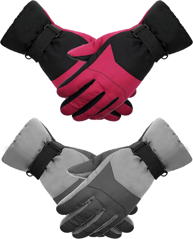 2 Pairs Ski Gloves Waterproof Snow Gloves Winter Snowboard Gloves Warm Snowboard Mittens Kids Ski Mittens for Skiing Snowboarding-fits Boys and Girls