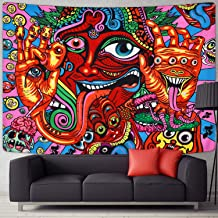 Sevenstars Psychedelic Arabesque Tapestry Mysterious Hippie Tapestry Abstract Retro Pattern Trippy Tapestry Fantasy Magical Fractal Tapestry for Room