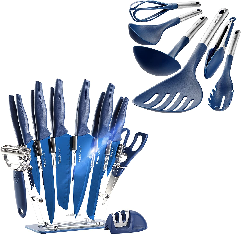 Wanbasion 22 Pieces Kitchen Popular products Free shipping New Knife Professio Dishwasher Safe Set