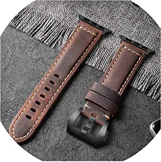 Handmade Crazy Cowhide Watchband Compatible for Watch Band 42mm 38mm Series 4/3/2/1 Leather Sports Strap Compatible for 44mm 40mm