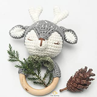 The Bunny Baby Gift Rattle Animals Toddlers Toy Baby Doll - Handmade Amigurumi Toys - Baby Accessories - Crochet Newborn Gift - Stuffed Doll (Dark Deer)