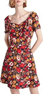 Our Heritage - Women's Floral Print Sweetheart-Neck Mini Dress with Back Tie-Up