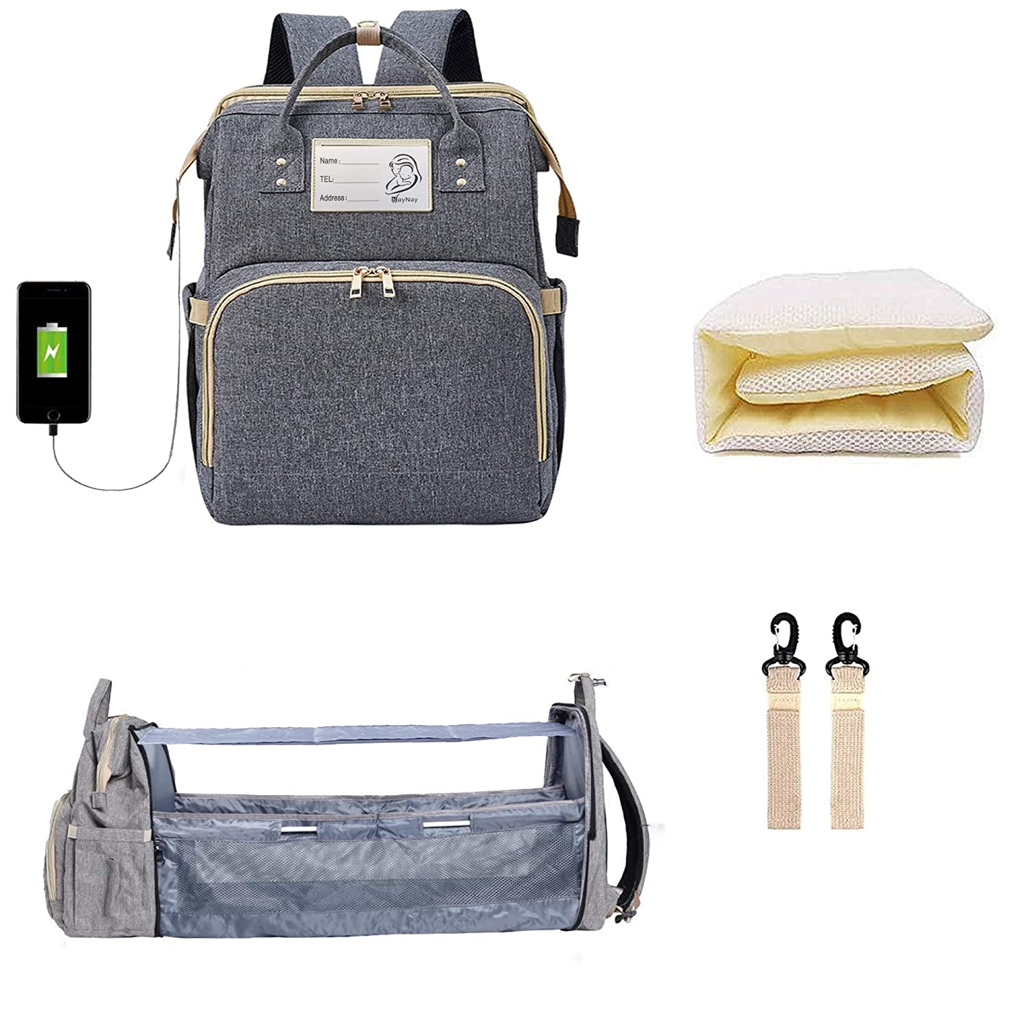 Upgraded 3 in 1 Diaper Bag - Baby Diaper Bag with Changing Station - Baby Diaper Bag Backpack - Includes Bassinet, Foldable Baby Bed, USB Charging Port, Stroller Straps (Grey)