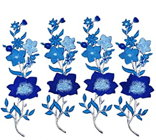 Monrocco 4 Pcs Flowers Embroidered Patch Sticker for Clothing Jacket Jeans Lace Applique DIY Clothes Decorations Fabric Patches (Blue)