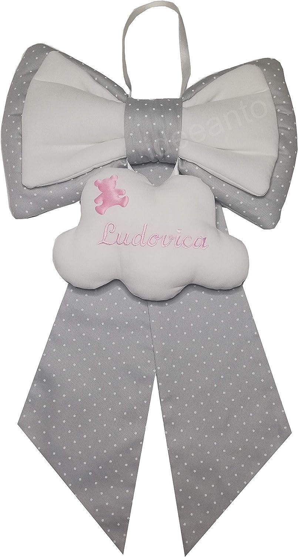 1 Made in Italy fiocco nascita coccarda nascita personalizzato con il nome ricamato del tuo bambino//a