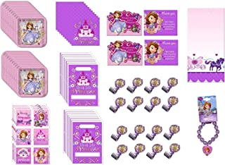 Sofia the First Princess Birthday Party Supplies Decoration Favor Bundle for 16 includes Plates, Napkins, Table Cover, Blo...