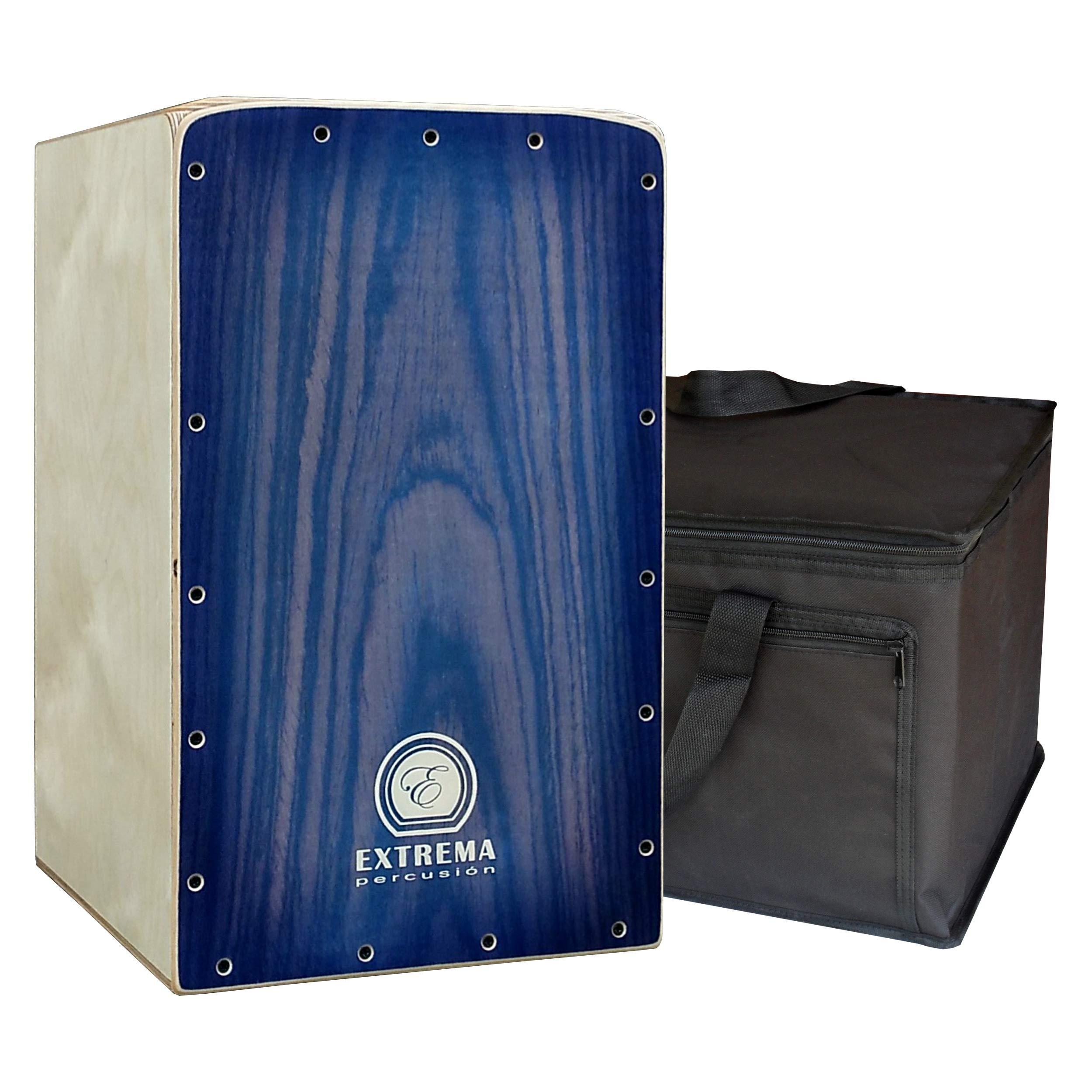 Extrema Percusión - Cajón Flamenco Profesional modelo Intact Decor Azul con Funda Acolchada de Regalo: Amazon.es: Instrumentos musicales
