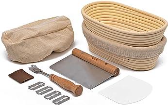 Proofing Set, by Kook, Sourdough Bread, 2 Rattan Banneton Baskets, 2 Basket Covers, Metal Scraper, Plastic Scraper, Scorin...