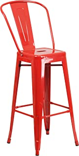 Flash Furniture 30'' High Red Metal Indoor-Outdoor Barstool with Back