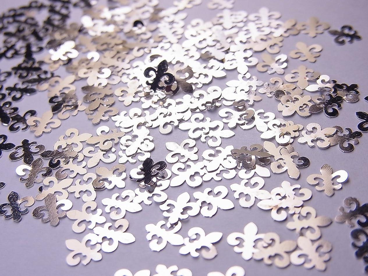 忠誠熟す可能にする【jewel】薄型シルバーレジンパーツ ユリの紋章10個