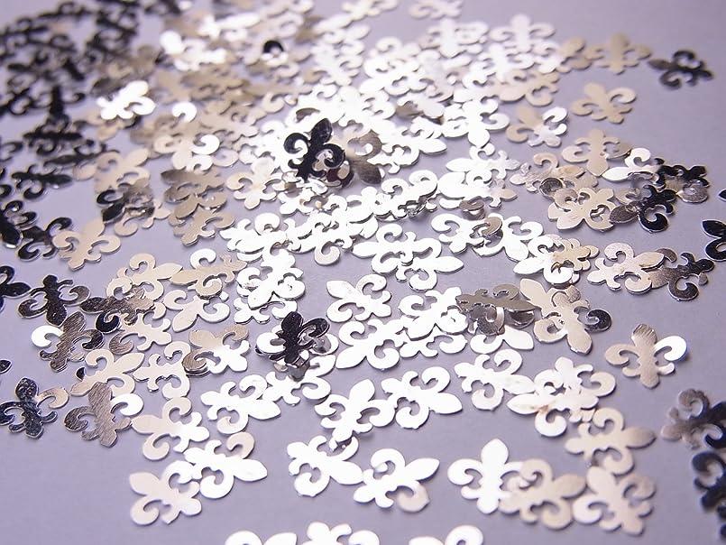 へこみ楽観慈悲深い【jewel】薄型シルバーレジンパーツ ユリの紋章10個