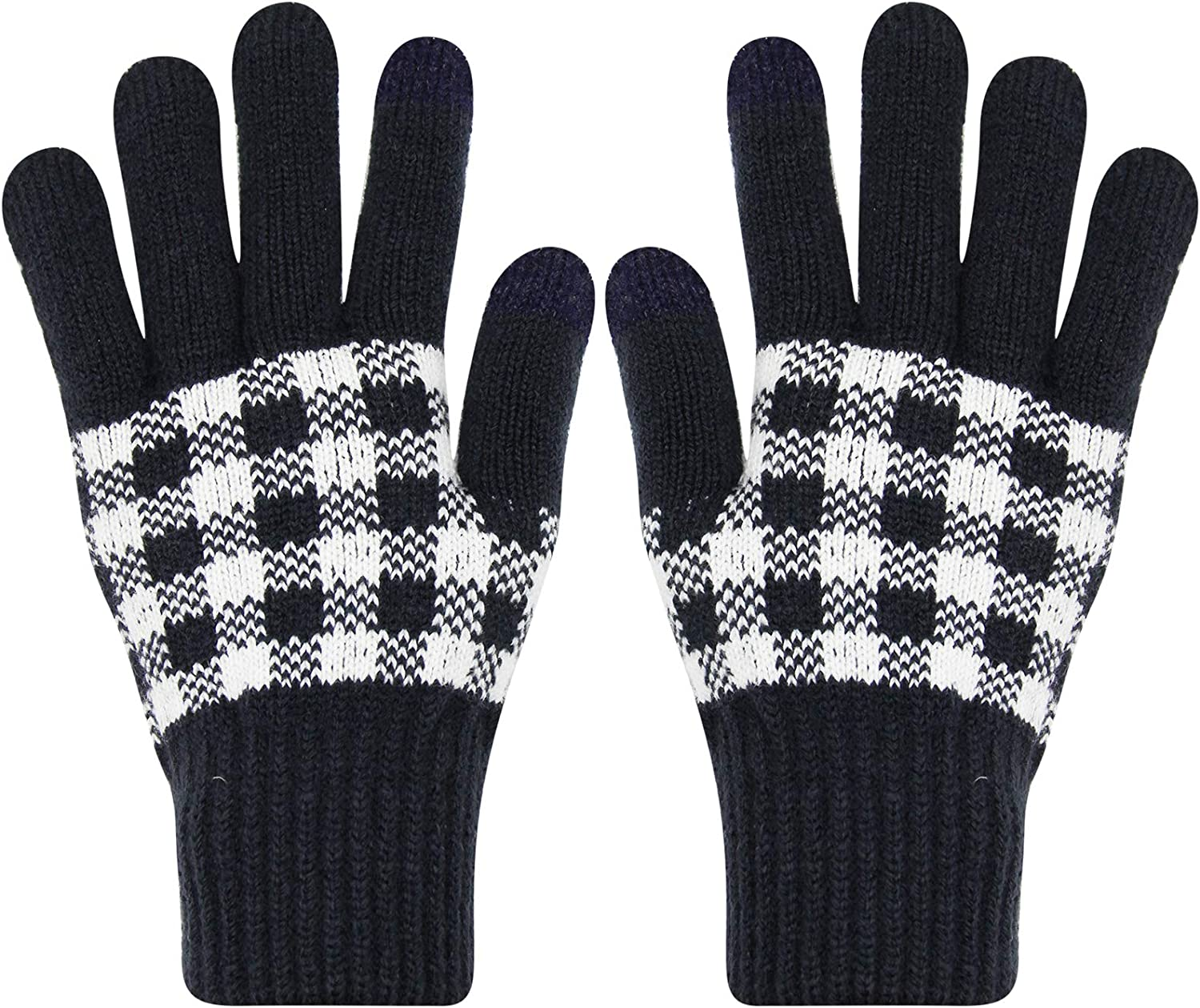 Unisex Winter Plaid Knitted Touch Screen Gloves Full Finger Thicken Fleece Lined Texting Mittens for Men Women