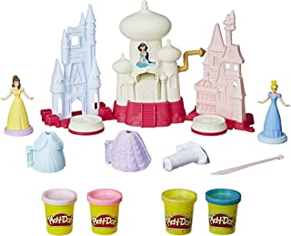 Play-Doh Sparkle Kingdom 3-in-1 Disney Princess Toy Castle with 4 Non-Toxic Colors, 2-Ounce Cans
