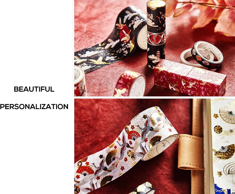 Gold Foil Japan Print Masking Wrapping Paper Black White Oriental Asian Chinese Crane Patterns for Decorative Arts Crafts Scrapbook EKOI Japanese Washi Tape 10 PC Assorted Set