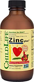 ChildLife Essentials Zinc Plus, for Infants, Baby, Kids, Toddlers, Children, and Teens, Mango Strawberry Flavor, Glass Bot...