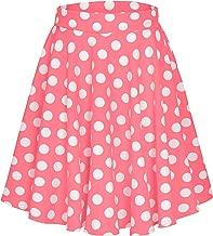 EXCHIC Women's Basic Skirt A-Line Midi Dress Casual Stretchy Skater Skirt