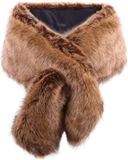 KAMA BRIDAL Women Long Faux Fur Shawl Bridal Stole Cover Up Winter Soft Bolero Scarf