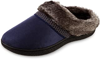 isotoner Women's Recycled Microsuede Mallory Hoodback Slipper, Navy Blue, 7.5-8