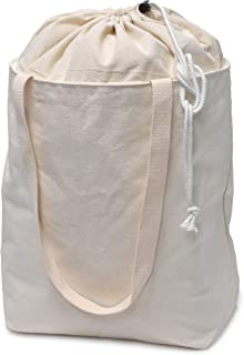 Reusable Canvas Shopping Bag, Extendable - Raise an Extra Piece of Canvas Around Your Overflowing Grocery Bag and Secure with a Drawstring Closure. Washable, Convenient, Eco-Friendly and Reliable.