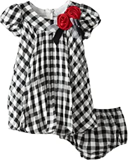 Bonnie Baby Baby Girls' Check Crystal Pleated Dress - Black