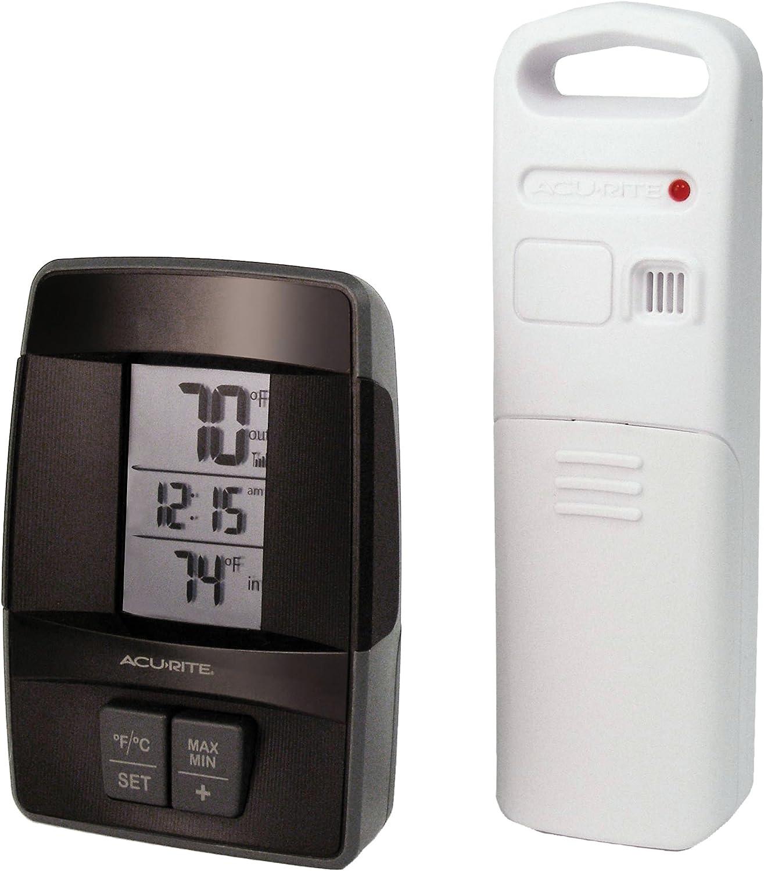 saludable AcuRite 00606inalámbrico para Interiores al Aire Libre Libre Libre termómetro con Reloj  online al mejor precio