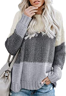 Women's Crewneck Color Block Striped Sweater Long Sleeve Loose Knit Pullover Jumper Tops