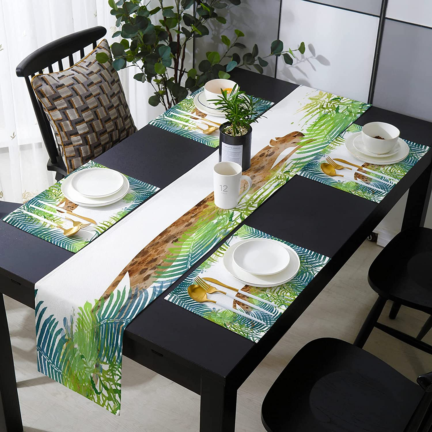 KAROLA Table Runner and Placemats Set 4 of Sale Leopard Tropical J Max 49% OFF in