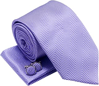 Herringbone Stripe Woven Men's Tie Necktie w/Pocket Square & Cufflinks Gift Set