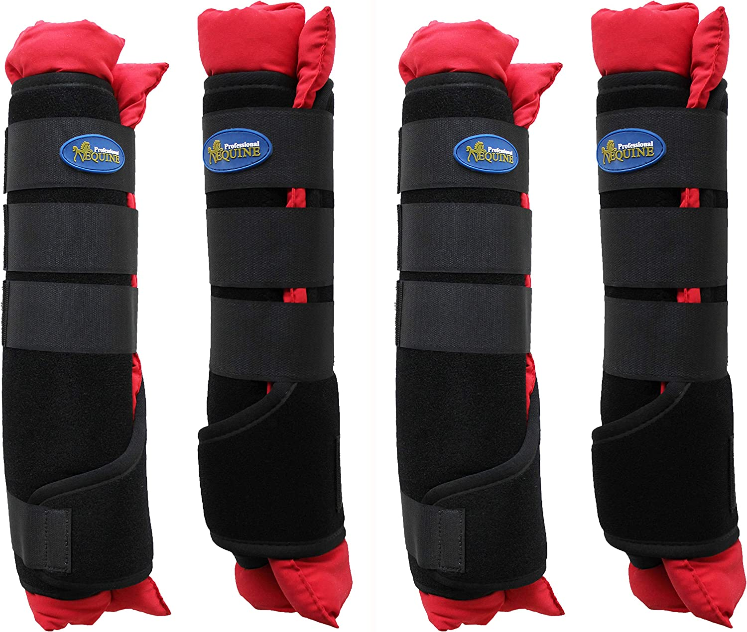 Horse Stable Boots Wraps Front Rear 4 Pack Leg Hoof Care Premium 4120RD