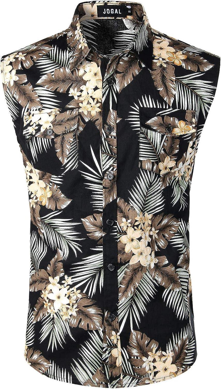 JOGAL Men's Sleeveless Flower Casual Button Down Hawaiian Shirt